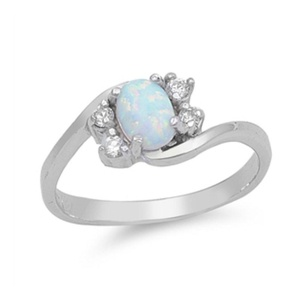 Trend Swirl Design Wedding Engagement Ring Oval Lab Created White Opal Round CZ 925 Sterling Silver