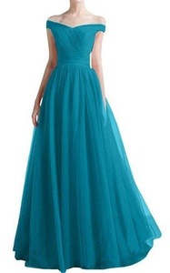 Women's Tulle Off Shoulder A-line Ruched Waist Homecoming Prom Dress Gown US 10