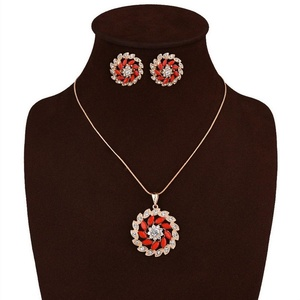 ARICO Hot Sale Trendy Necklace With Earrings Sets Gold Metal plated with Round Red Earring Sets NE888