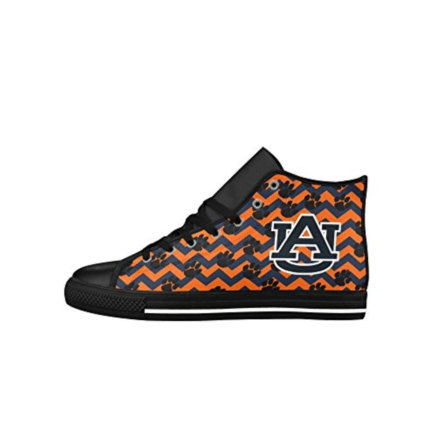 H-MOE Art Ncaa Auburn Tigers Women's High Top Lace-up Action Leather Breathable Sneakers,Black