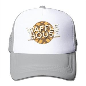 Trucker Waffle House Fast Food Adjustable Mesh Back Baseball Cap Ash
