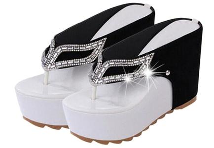 Women Summer Rhinestone Strap Flip Flops High Heeled Beach Sandals Shoes