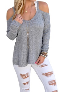 Dokotoo Womens Cold Shoulder Loose Knitted Sweater Top Blouse Large Grey