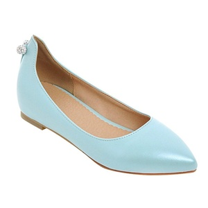Latasa Women's Solid Color Pointed Toe Flats Pumps (5.5, blue)
