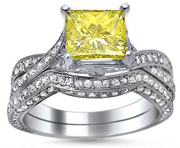 tusakha 2.88 ct Fancy Yellow Princess Cut Cubic Zirconia Engagement Ring Bridal Set 14k White Gold Plated (8.5)