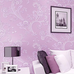CCWY An idyllic 3d non-woven cloth wallpaper bedroom wallpaper to the living room TV background warm romantic purple floral wallpaper