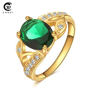 Slyq Jewelry Engagement Ring Man Wedding Ring Bridal Sets Crystal Gold Plated Dress Accessories