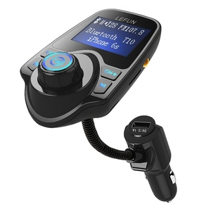 LeFun Bluetooth FM Transmitter, Car Radio Adapter Kit and FM Modulator with USB Charger AUX Input Bluetooth Receiver Tf Slot for Iphone Android