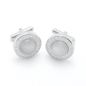 Stainless Steel Cuff Links White Opal Prong Setting Crystal Cufflinks For Mens