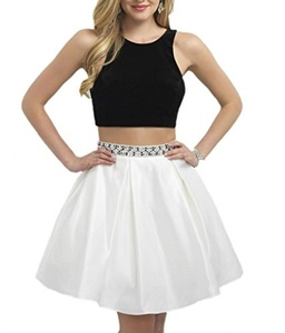 Winnie Bride Popular Two Piece Homecoming Party Prom Dress for Juniors Short-26W-Black