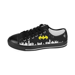 H-MOE Art Batman Men's Canvas Shoes Low-top Lace-up Breathable Sneakers,Black