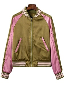 Season Show Women's Classic Zip-Up Bomber Jacket with Back Embroidery Army L