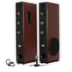 Acoustic Audio TSi650 Bluetooth Powered Floorstanding Tower Multimedia Speakers with Optical Input and Mic TSi650DM1