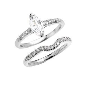 14k White Gold Dainty Diamond Wedding Ring Set With Marquise Cubic Zirconia Center Stone(Size 12)