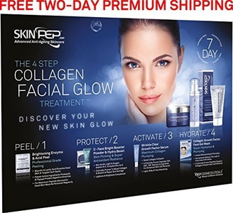 SkinPep 4 Step Collagen Facial Glow Treatment - 7 Day Set - Discover Your New Skin Glow + Skincare + Anti Wrinkle + Moisturising + Hydrating - SkinPep Best Choice For Premium Quality Collagen Treatment by SkinPep