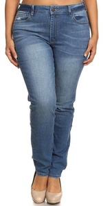 Women's Plus Size Jeans Solid Mid Rise Classic Skinny Full Length Stretch Denim Pants with Hand Sanding