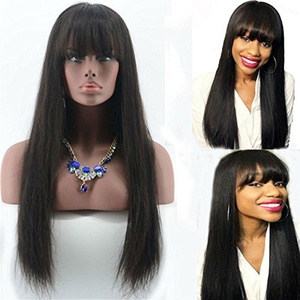 Aliceprincess Long Silky Straight Human Hair Wig With Bangs Glueless Full Lace wig Natural Black Human Hair Brazilian Virgin Hair Wig