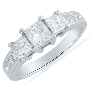 14K White Gold 1.50CTW Three Stone Princess Cut Diamond Ring, Size 7