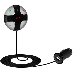 KOMRT Bluetooth FM Transmitter with USB Car Charging,TF Card Slot and Magnet Sticker,Hands-Free Calling for iOS and Android,Black
