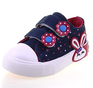 Idealhome Girls Flowers Rabbit Velcro Straps Low Top Flat Shoes Blue 7.5 M US Toddler