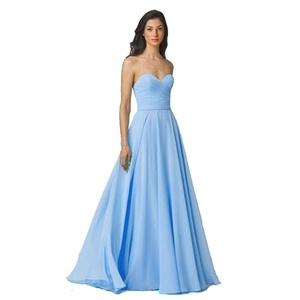 JoyVany Chiffon Bridesmaid Dresses Pleated Long Party Dress Backless Dresses light blue Size 24W