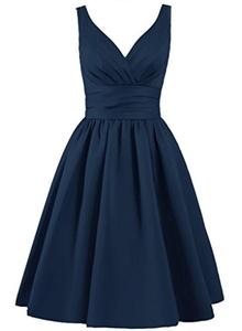Angel Formal Dresses Women's V Neck Pleated Satin Formal Prom Dress(20,Navy Blue)