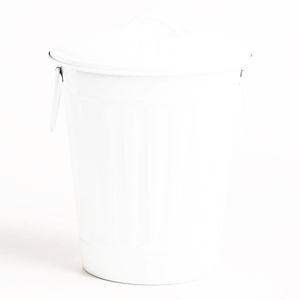 Large Matte White Retro Metal Trash Can