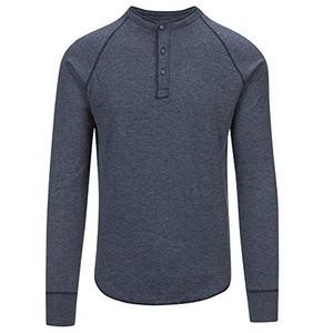 Save Khaki Men's L/S Pointelle Henley Shirt SK013-PT Navy SZ M