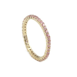 2mm Stackable Full Eternity Wedding Band Ring Round Pink CZ 14k Yellow Gold Plated 925 Sterling Silver