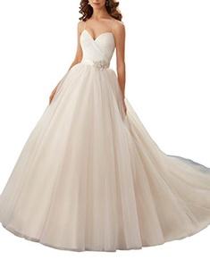 Meledy Women's A-line Sweetheart beaded Spaghetti Straps Cross Ruffle Tulle Bowknot Chapel Trains Bridal Wedding Dress White US 4