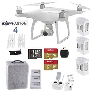 DJI Phantom 4 Extended Flight Kit - Includes 3 Intellegent In Flight Batteries + Battery Charging Hub + 2 Extended Video 64GB Micro SD Memory Card