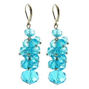 Retro Bridal Grape Drop Cluster Crystal Rhinestone Dangle Earrings 8 Colors