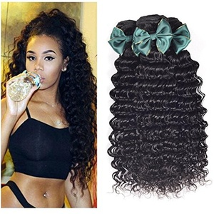 Peony Hair 8A Unprocessed Virgin Hair Deep Wave 3 Bundles Brazilian Virgin Hair Extension Remy Human Hair Weaves Natural Black (10 12 14, natural color)