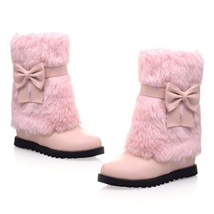 AIWEIYi Womens Faux Fur Comfort Sweet Cute Sweet Bows Casual Flat Snow Boots