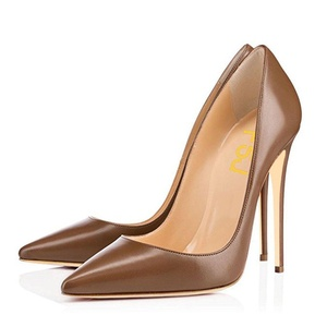 FSJ Formal Pumps for Women Pointed Toe with High Heel Stiletto Dress Shoes Size 14 US Brown