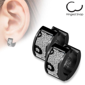 Pair of Black IP over 316L Stainless Steel Ear WildKlass Rings with Square Black Leopard Sand Sparkle (Sold as a Pair)