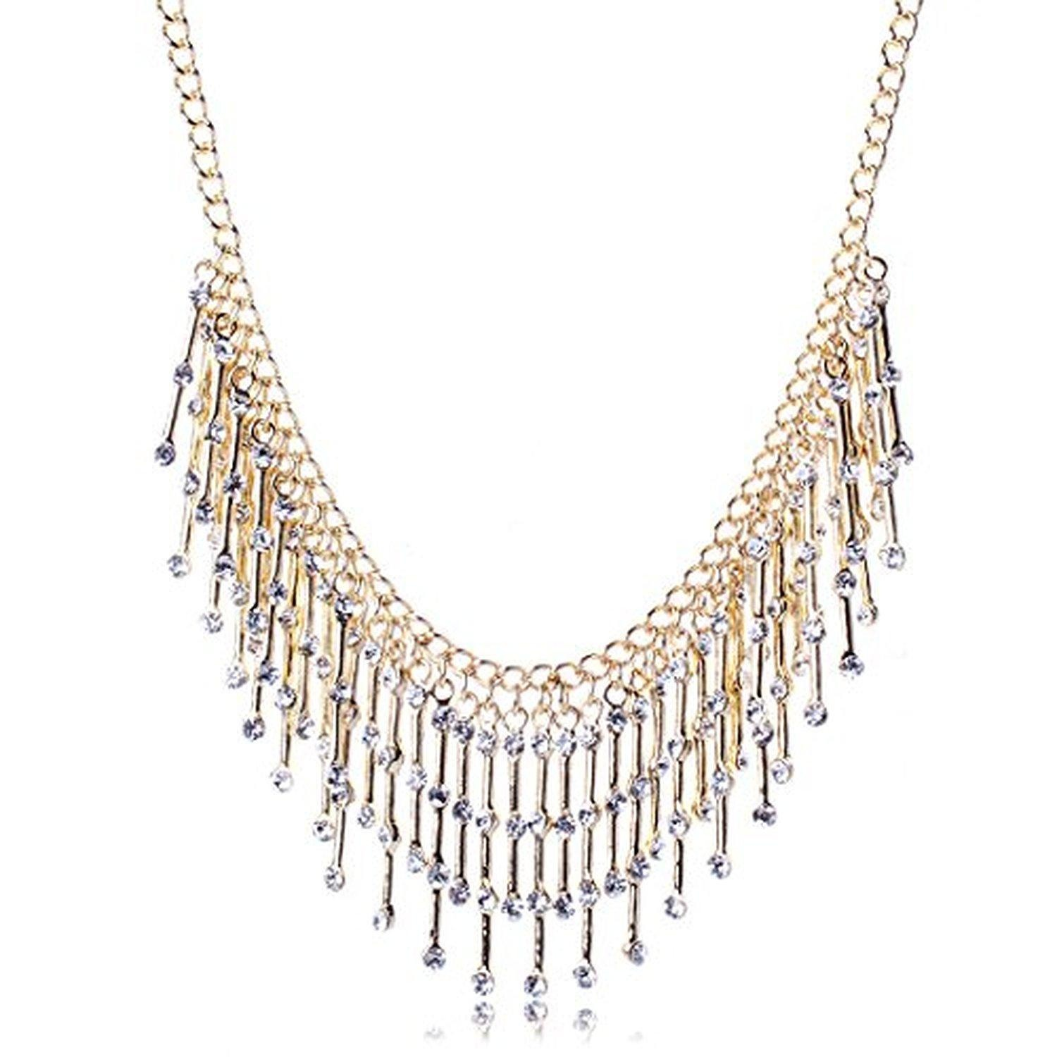 ARICO Big Tassel Necklace Multi Layer Maxi Bohemian Necklace Rhinestone Crystal Necklace Jewelry Gold Plated NB659