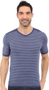 Agave Denim Men's Mighty Mo Short Sleeve Striped V-Neck Deep Cobalt/Citadel T-Shirt SM