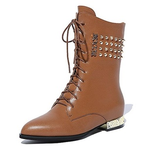 Nine Seven Genuine Leather Women's Pointed Toe Flat Heel Lace Up Rivets Handmade Boot (5.5, brown)