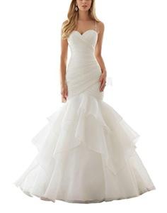 YinWen Women's Sweetheart Beaded Straps Mermaid Ruched Organza Wedding Dress Size 16 US White