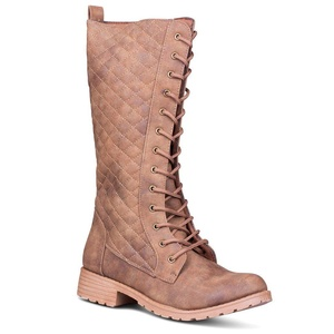 Twisted Women's Timmy Quilted Lace-Up Fashion Boot, TAN, Size 11