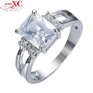 Cherryn Jewelry Charming White Rectangle Zircon Ring Bridal White Gold Filled Cute Jewelry Wedding Ring RW0252