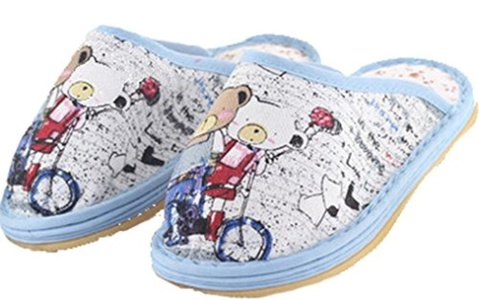 D.S.MOR Little Kid Bear Flax Kids Slippers Close Toe Indoor Floor Slippers (11.5 M, Color 2)
