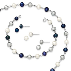 .925 Sterling Silver Freshwater Cultured Pearl Necklace, Bracelet & 3pc Earring Set