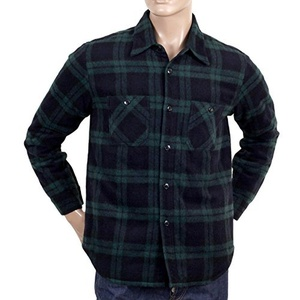 Green Quilted Wool CPO Overshirt By Sugar Cane CANE4464