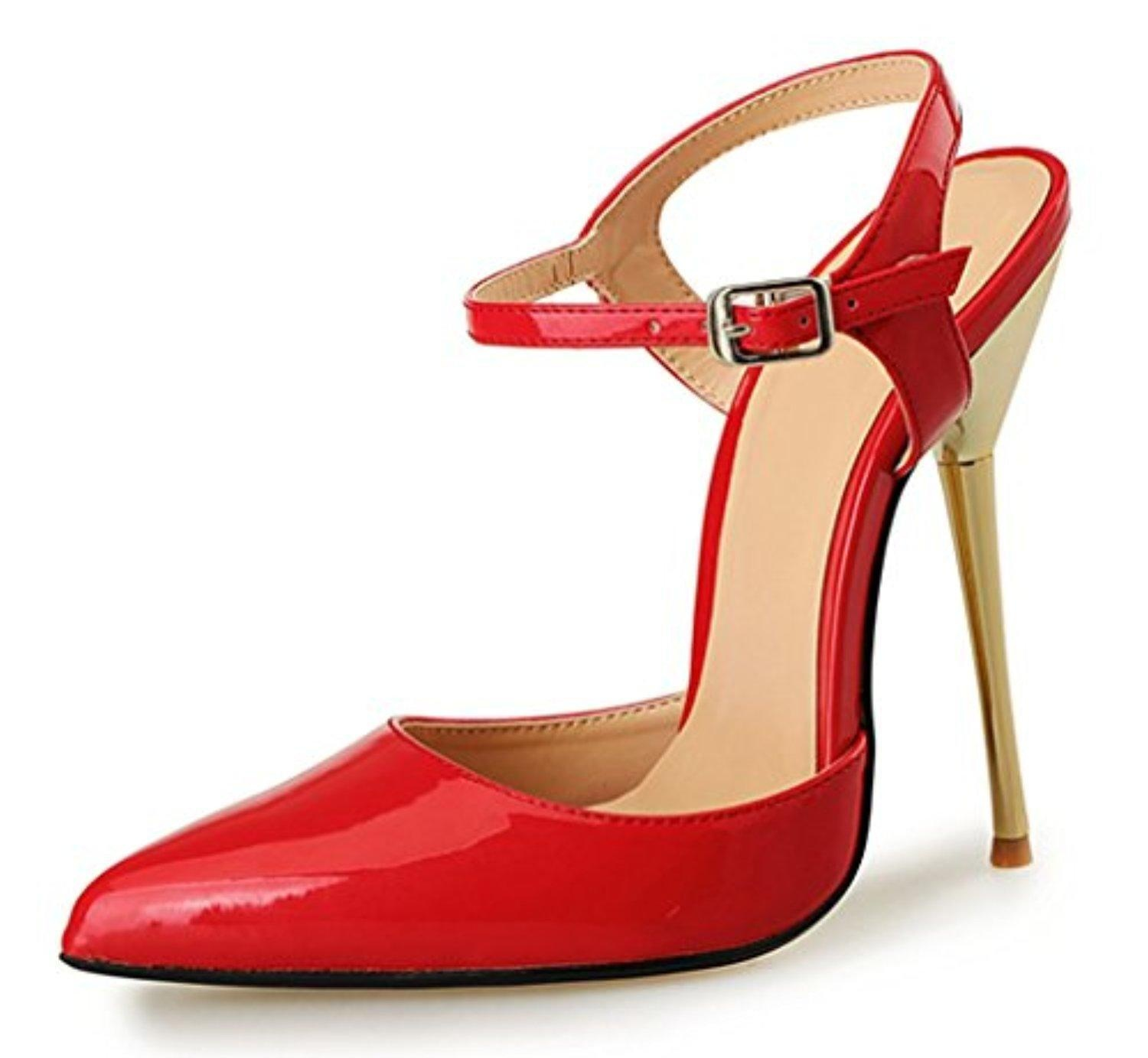 Womens Elegant Slingback Ankle Strap Buckle Pointed Toe Stiletto Metal Heel Pumps Shoes Red Size 13.5 EU49