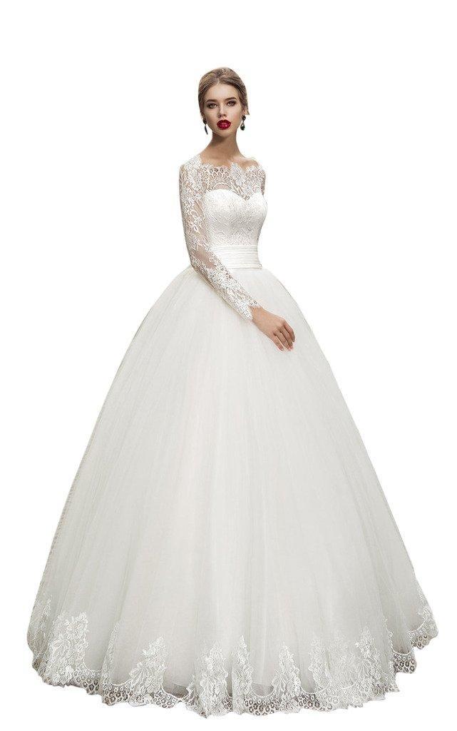 JoyVany Elegant Long Sleeve Wedding Dress Lace Applique Ball Gown Wedding Gowns Ivory Size 8
