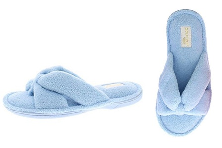 Gold Toe Women's Darcy Memory Foam Microterry Fleece Spa Thong Plush Slip On Slipper Light Blue L 9 US