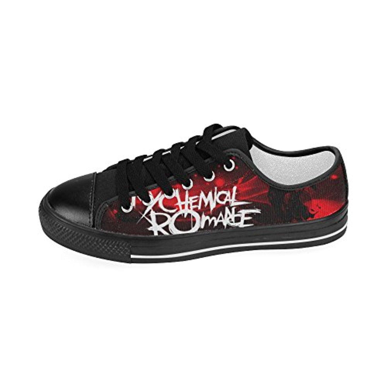 H-MOE Art My Chemical Romance Men's Canvas Shoes Low-top Lace-up Breathable Sneakers,Black