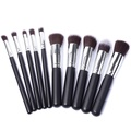 YOY Fashion Makeup Brush Set - Professional Kabuki Brushes Kit Foundation Blending Blush Contour Concealer Eyeliner Face Powder Cosmetics Beauty Tools,10 Pcs Black-silver